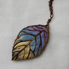 Shimmery Leaf Pendant  Spring Autumn or by newcreationsjewelry, £12.49