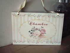 """Plaque de porte rayures roses """"Chambre"""", déco de charme"""