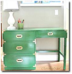 retro metal desk make over | kelly green campaign desk gold leaf desk chair use additional
