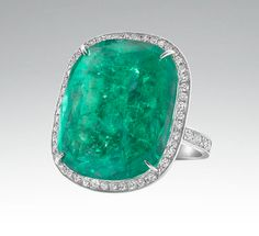 Faraone Mennella - Square shape Emerald Ring with pave set Diamonds set in 18Kt White Gold.