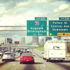 Welcome to Atlanta. Take the Freedom Parkway exit and get lunch in Inman Park or Little 5 Points! Best Decision you'll ever make :)