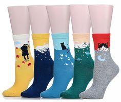 soxera Cute Cat Design Damen Casual bequeme Baumwolle Crew Socken - 5 Pack Gr. Einheitsgröße, katze