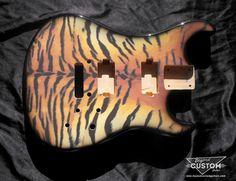Custom Kramer Pacer Style Guitar Body with Custom Bengal Artwork by www.beyondcustomguitars.com