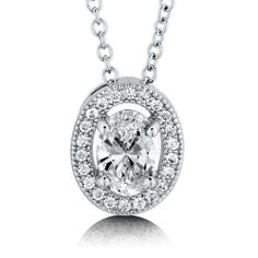 Oval Cut Cubic Zirconia CZ 925 Sterling Silver Halo Pendant Necklace - Nickel Free BERRICLE. $49.99. Nickel Free and Hypoallergenic. Stone Total Weight (ct.tw) : 0.87. Metal : Stamped 925. Stone Type : Cubic Zirconia. Gender : Women