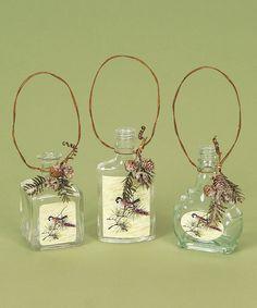 Bird Bottle Ornament - Set of Six #zulily #Christmas #Holiday