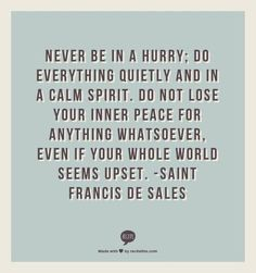 Never be in a hurry; do everything quietly and in a calm spirit. Do not lose your inner peace for anything whatsoever. Even if your whole world seems upset. - Saint Francis De Sales