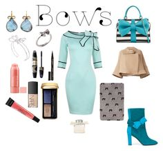 """blue bows"" by jenn5 ❤ liked on Polyvore featuring Kate Spade, Pollini, Betsey Johnson, Joy Everley, Judy Geib, Ted Baker, Max Factor, Smith & Cult, NARS Cosmetics and Guerlain"