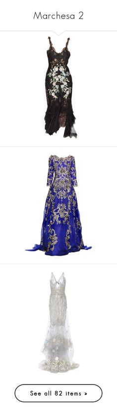 """Marchesa 2"" by designing-myworld ❤ liked on Polyvore featuring dresses, edited, gowns, satinee, black dresses, marchesa, marchesa dresses, evening gown, marchesa gowns and blue evening gown"