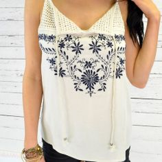 Sandy Springs Ivory Embroidered Tank $26