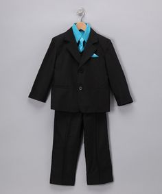 Black & Turquoise Five-Piece Suit Set - Infant, Toddler & Boys
