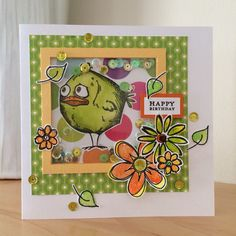 Birthday card using one of Tim Holtz's Crazy Birds