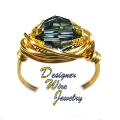 DWJ0583 Stunning Genuine Swarovski Faceted Crystal Montana Blue Gold Wire Wrap Ring All Sizes
