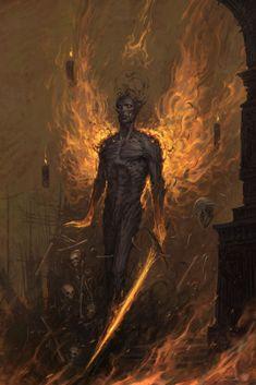 fantasy_dark — Wings of Death and Fire by Felipe [Fesbra]. Dark Fantasy Art, Fantasy Artwork, Fantasy World, Dark Art, Fantasy Demon, Fantasy Series, Fantasy Creatures, Mythical Creatures, Dark Creatures