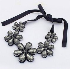 Women Crystal Flower Ribbon Choker Collar Necklace