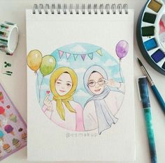 Your scarf is an essential item while in the attire of females along with hijab. Bff Drawings, Girl Drawing Sketches, Deviantart Drawings, Hijab Drawing, Classroom Art Projects, Islamic Cartoon, Anime Muslim, Hijab Cartoon, Sketch Inspiration