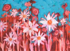 Red Field Daisies watercolor, gouache & colored pencil ptg by Sharon Giles