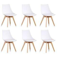 CHAISE Lot de 6 chaises blanches scandinaves - Prague