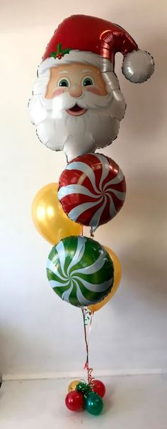 Christmas themed balloon arrangement - santa and swirls Christmas Party Decorations, Balloon Decorations, Christmas Themes, Christmas Ornaments, Holiday Decor, Send Balloons, Balloons Online, Balloon Arrangements, Balloon Delivery