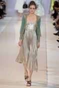 Rochas, SS15, RTW.  Silver pleated dress with a sheer cardigan.