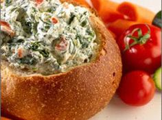 Spinach Dip in a bread bowl  http://thegardeningcook.com/party-dips/