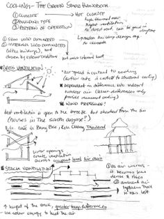 "Cooling Reading – Green Studio Handbook source Als3ax's Blog: ""Cross Ventilation: airspeed is crucial, temperature difference b/t inside and outside and wind pressure Stack Ventilation – air rises when warmed and ambient air replaces it once it has left Evaporative Cooling Towers – hot air in top, cool air out on bottom (works best for buildings with open floor plans and in a hot/dry climate) [...]"