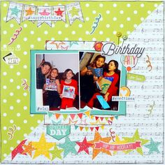 Simple Stories Let's Party is the perfect paper for this festive birthday layout.