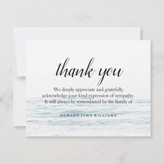 Funeral Thank You Note Grief Ocean | Bereavement | Zazzle.com