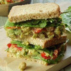 Vegan Smokey Smashed Chickpea and Avocado Sandwiches.