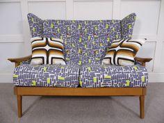 Stylish Vintage Retro Mid Century Sofa Wingback John Lewis fabric Restored 70s