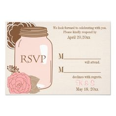 Summer's Dream RSVP insert   Beautiful RSVP insert to match our Summer's Dream wedding collection. Soft cream background with a large Mason jar, and flowers in shades of brown and pink. All text is fully customizable. The back is plain cream where you can add more information such as number of guests in party or menu choices if needed.