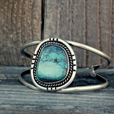 "Vintage Turquoise Bracelet. Simple 1 stone bracelets like this were ""bread and butter"" during the turquoise craze of the 70's. Rings in a similar style were very popular."