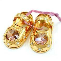 1 Paar Babyschuhe, mit Kristall-Glas rosa, gold-plattiert, verbunden mit rosa Satinband