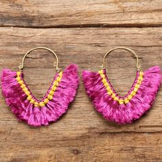 Funky pink cotton fluff earrings by cafeandshiraz on Etsy