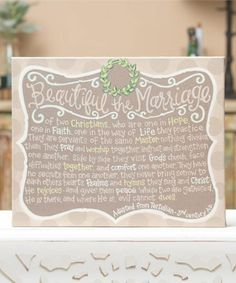 Take a look at this 'Beautiful the Marriage' Tabletop Sign today!