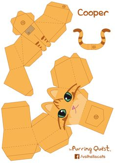 The Purring Quest Papertoy on Behance 3d Paper Crafts, Paper Toys, Diy Paper, Foam Crafts, Origami Cat, Origami Paper, Paper Toy Pokemon, Origami Templates, Diy Gift Box