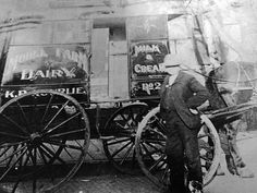 """A while back I posted a photo of a milk bottle from my family's Toronto milk business from the early 1900s. Searched through some more pics and found this one of the milk wagon - I know its pre-1930 due to the dairy being closed/sold before my Grandma was born."" - Courtesy of Terry Cormier."