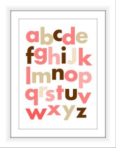 ABC nursery Printable 8x10 Brown and Pink by TheEducatedOwl, $7.00
