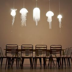 Medusae Pendant Lamps Add a little underwanter illumination to your space with these stunning jellyfish pendants. Made of translucent mylar,