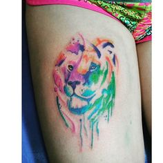 watercolor lion tattoo ink on Instagram