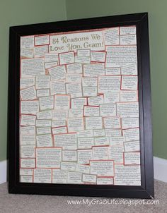 "My Gra 8 Life: Neat Sentimental Gift for Grandparent - ""Reasons We Love You"""
