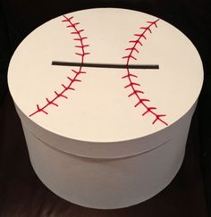 Having a baseball themed wedding? Then this is the gift card holder for you! A round box that is hand painted with baseball stitching across the top Baseball Card Boxes, Baseball Gifts, Baseball Season, Baseball Outfits, Baseball Treats, Baseball Scores, Pro Baseball, Baseball Training, Baseball Jerseys