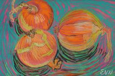 original painting / oil pastel / yellow onions / by NielsenDenmark