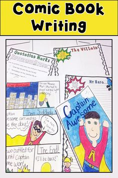 Book Writing has templates and practice sheets for brainstorming formulating characters creating a setting using quotation marks and more! All for a fun and interactive writing lesson! Includes templates to turn rough drafts into an awesome comic book! Comic Book Writing, Writing A Bio, Writing Comics, Writing Lessons, Writing Process, Writing Resources, Writing Skills, Writing Activities, Classroom Activities