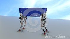 Two sets of robot legs carrying an waste dumpster.