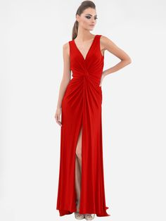 Simple and elegant. Red Twist Front Gown from #VittoriaRomano.  #Dress #RedDress #Fashion #Trends #ValentinesDay #OnlineShopping #DesignerGowns #RedCarpet #Dubai