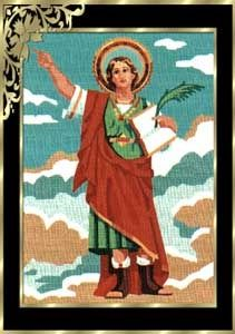 tela con dibujo impreso de San Pancracio para bordar en punto de cruz ó petit point