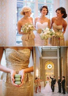 Glitter bridesmaids http://www.stylemepretty.com/2012/12/31/atlanta-new-years-eve-wedding-shoot-at-georgian-terrace-hotel/