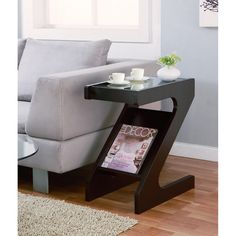Furniture of America Enzo Modern Black Tinted Tempered Glass Top Chairside-End Table with Magazine Rack