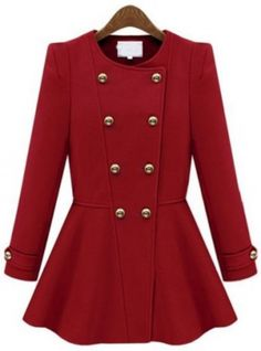 Buy Red Long Sleeve Double Breasted Ruffle Coat from abaday.com, FREE shipping Worldwide - Fashion Clothing, Latest Street Fashion At Abaday.com