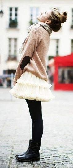 Bun + oversize sweater/terry top + tutu skirt + tights